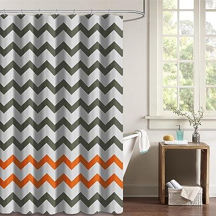 Amazon NYMB Gray Tan Chevron Zigzag Pattern Bath Curtains 100