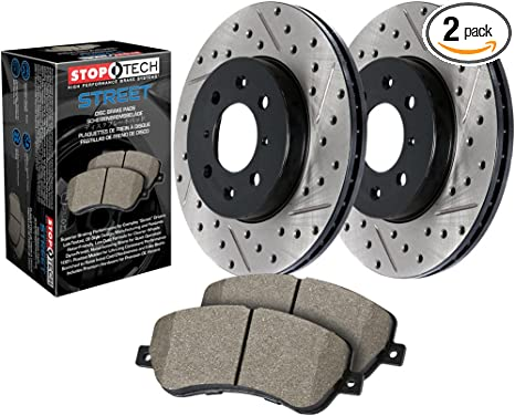 Stoptech 938.51023 Street Axle Pack Drilled /& Slotted Front