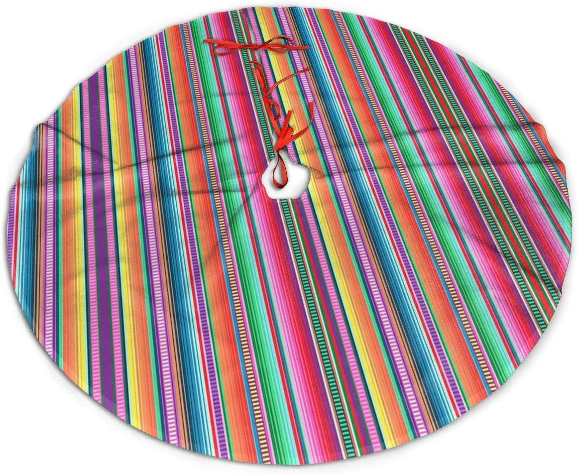 MSGUIDE Christmas Tree Skirt 48 Inch Mexican Serape Stripe Colorful Xmas Holiday Party Supplies Large Tree Mat Decor for Indoor Outdoor Home Ornaments