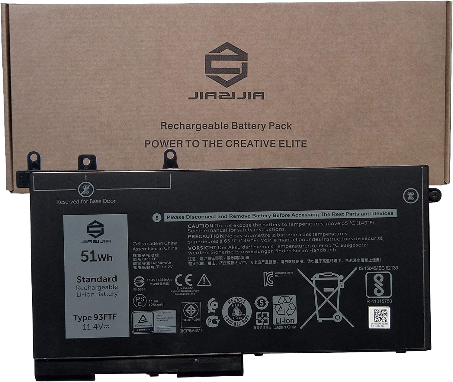 JIAZIJIA 93FTF Laptop Battery Replacement for Dell Latitude 5280 5288 5480 5580 5490 5590 5491 5591 5495 5488 Precision 3520 3530 Series GJKNX 3DDDG D4CMT 083XPC 83XPC 4YFVG DJWGP 0DJWGP 11.4V 51Wh