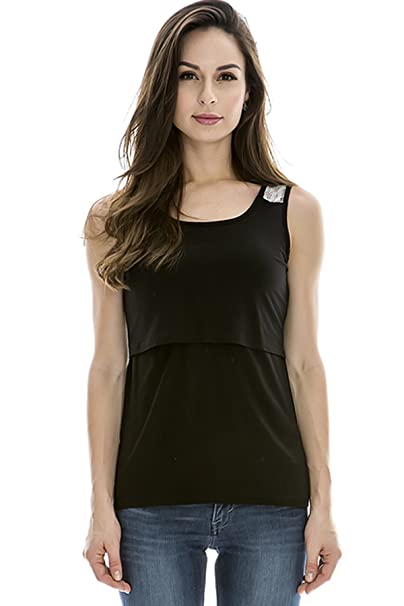 b11495f77c16e Bearsland Women's Maternity Nursing Tank Tops and Sleeveless Comfy  Breastfeeding Shirts Black
