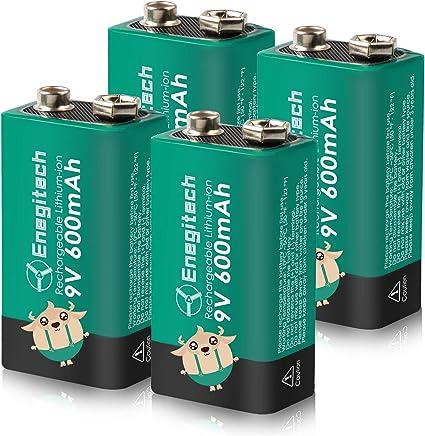 Amazon Com 9v Rechargeable Batteries Enegitech Smoke Detector