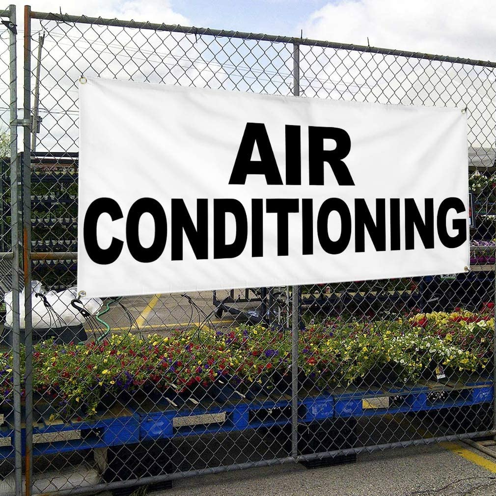 Vinyl Banner Multiple Sizes Air Conditioning Black Auto Car Repair Shop Business Outdoor Weatherproof Industrial Yard Signs 8 Grommets 48x96Inches