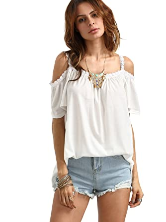 673c2ae5db2d7 ROMWE Women s Open Cutout Cold Shoulder Short Sleeve Top Casual Tee T Shirts  S White