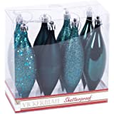 "Vickerman N500162 Shatterproof Drop Ornament with 4 Separate Finishes (shiny, matte, glitter and sequin) in 8 per box, 5.5"", Sea Blue"