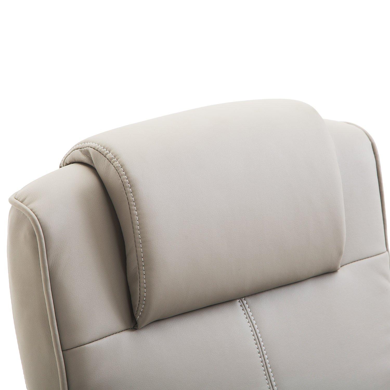 f9ea010f8625d5 Homcom Fauteuil Relax inclinable Style Contemporain avec Repose-Pieds  Simili Cuir Acier Gris
