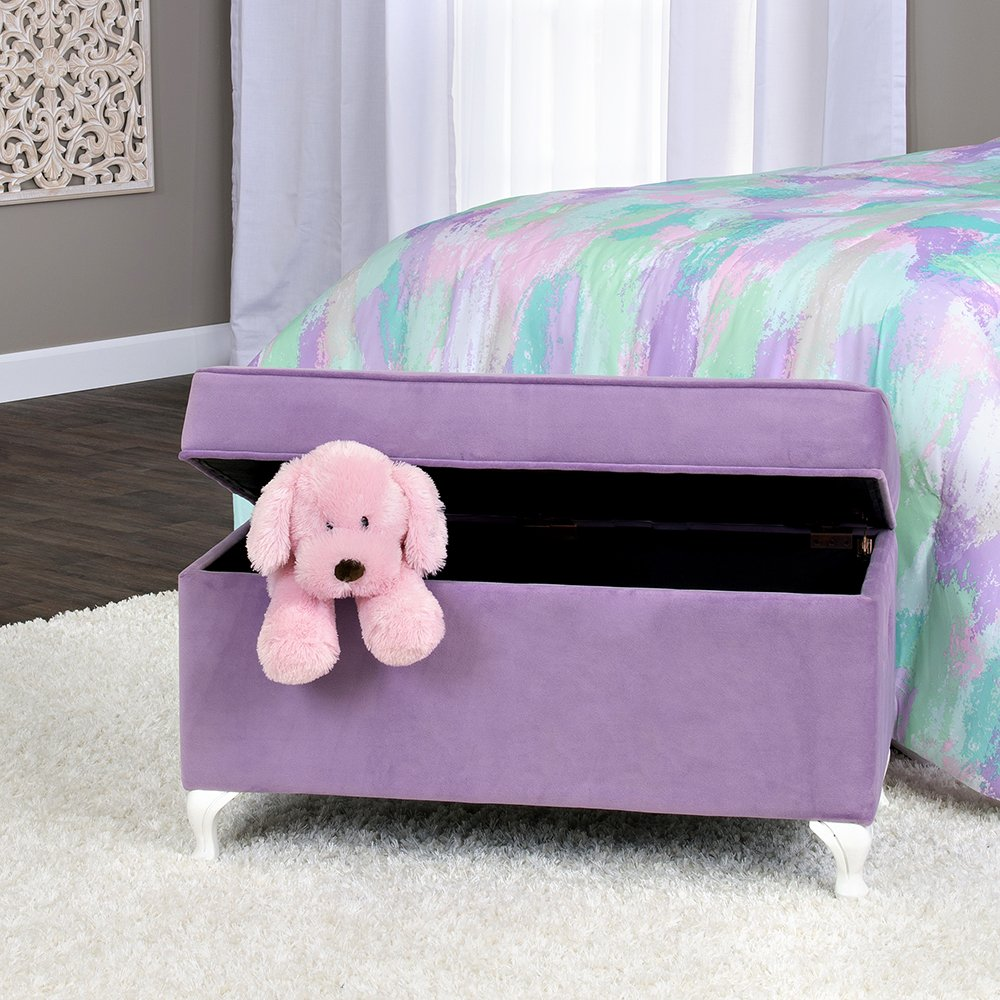 HomePop Diva Youth Velvet Decorative Storage Bench with White Wood Legs, Purple by HomePop (Image #5)