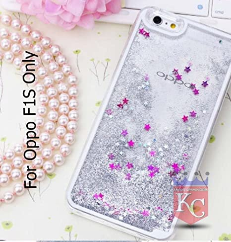 new styles 3ae2d abe4f KC Liquid Flowing Moving 3D Bling Glitter Stars Case Transparent Soft  Silicon Back Cover for Oppo F1s - Silver Color