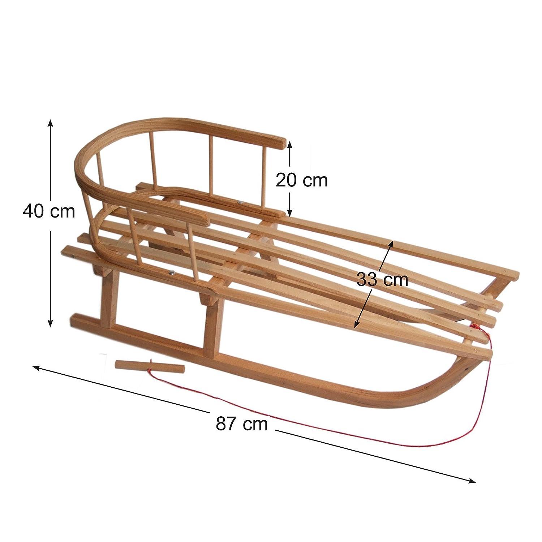 108cm BambiniWelt Kombi-Angebot Holz-Schlitten mit R/ückenlehne /& Zugseil Kinderwagen auch geeignet f/ür Babyschale universaler Winterfu/ßsack Buggy aus Wolle im Eulendesign