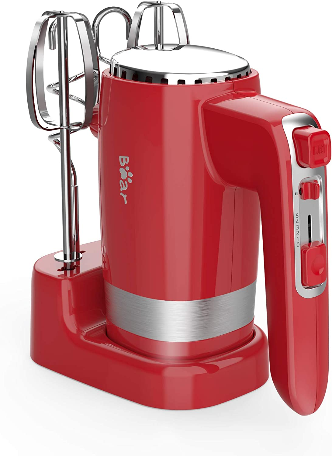 Hand Mixer Electric 300w Ultra Power Kitchen Hand Mixer With 2 *5-Speed Handheld Mixer with Storage Base ,Turbo Boost/Self-Control Speed Eject Button + 4 Stainless Steel Accessories