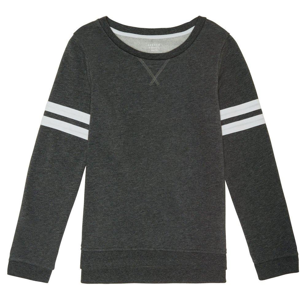 French Toast Little Girls' Long Sleeve Varsity Sweatshirt, Charcoal Heather Gray Single Dye, 5