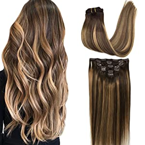 GOO GOO 22 inch Ombre Clip in Hair Extensions Chocolate Brown to Caramel Blonde Remy Clip in Human Hair Extensions Straight Balayage Real Natural Hair Extensions 120g 7pcs