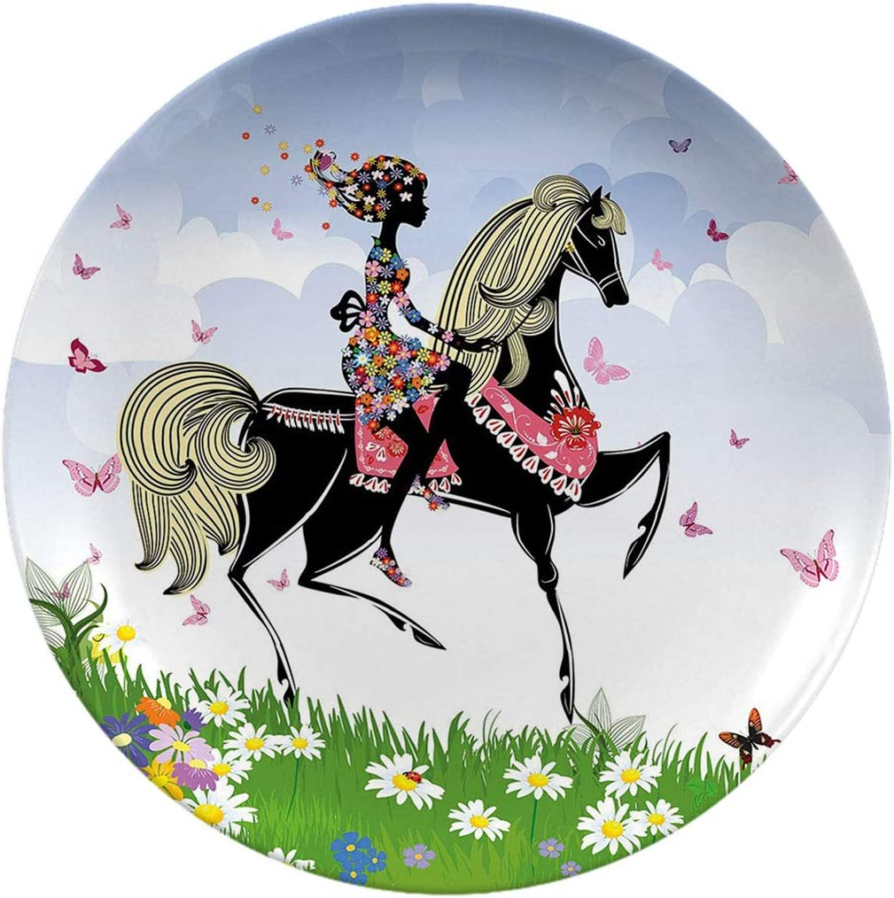 Creative Round Dinner Plates,Horse Decor Floral Girl Riding Pony In Fantasy Spring Butterflies Multicolor,dinner Plates For Everyday Use, Break-resistant And Lightweight,7 Inch