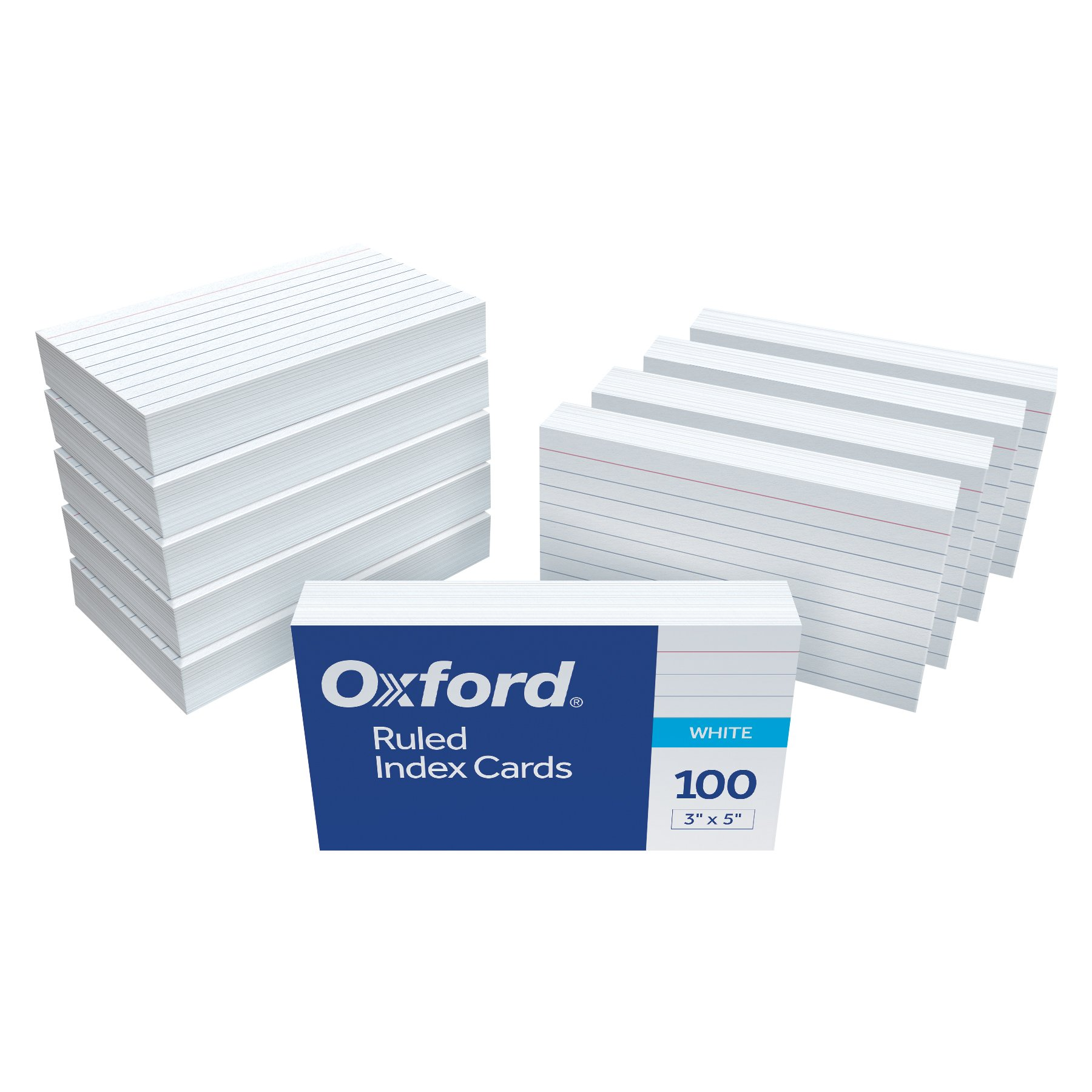 Oxford Ruled Index Cards, 3'' x 5'', White, 1,000 Cards, 10 Packs of 100 (98833)
