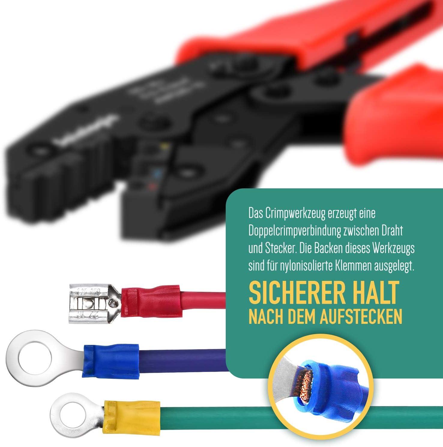 sainlogic Crimpzange Kabelschuhe Set Alicates Crimpadora de Alambre Kit,0.5-6 mm/² de trinquete Ajustable con 700 terminales de Cable aislados
