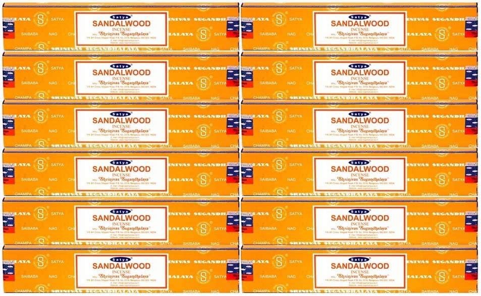 Satya Nag Champa Sandalwood Incense Sticks - Box 12 Packs