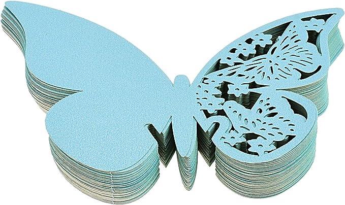 50pcs Black Butterfly Glass Name Ort Eskorte-Karten für Baby Shower