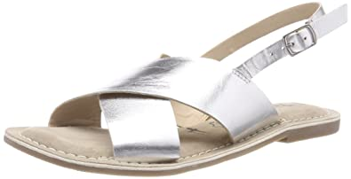tamaris slingback sandalen silber