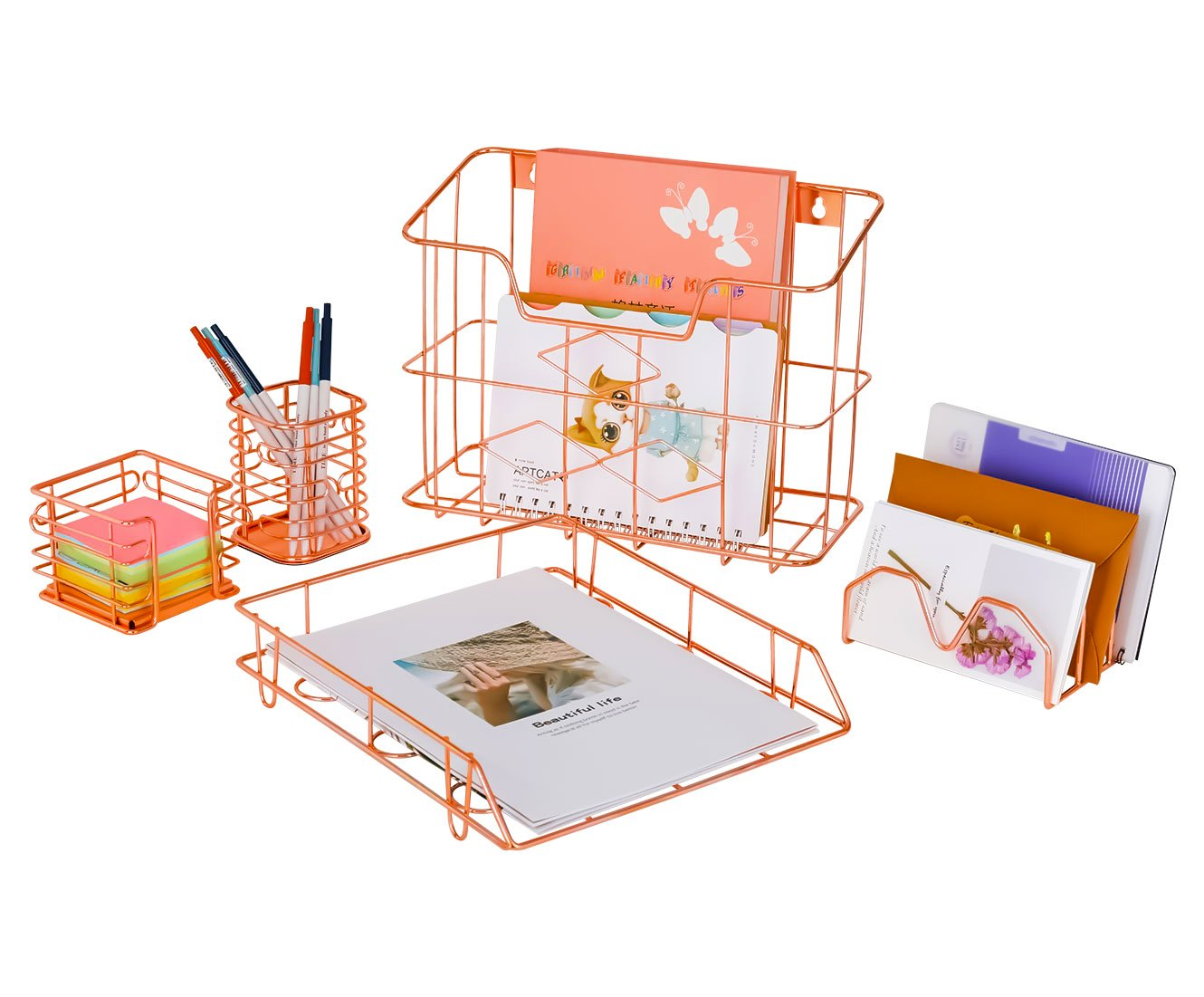 PAG Rose Gold Office Supplies 5 in 1 Desk Organizer Set - Hanging File Organizer, File Tray, Letter Sorter, Pencil Holder and Sticky Note Holder