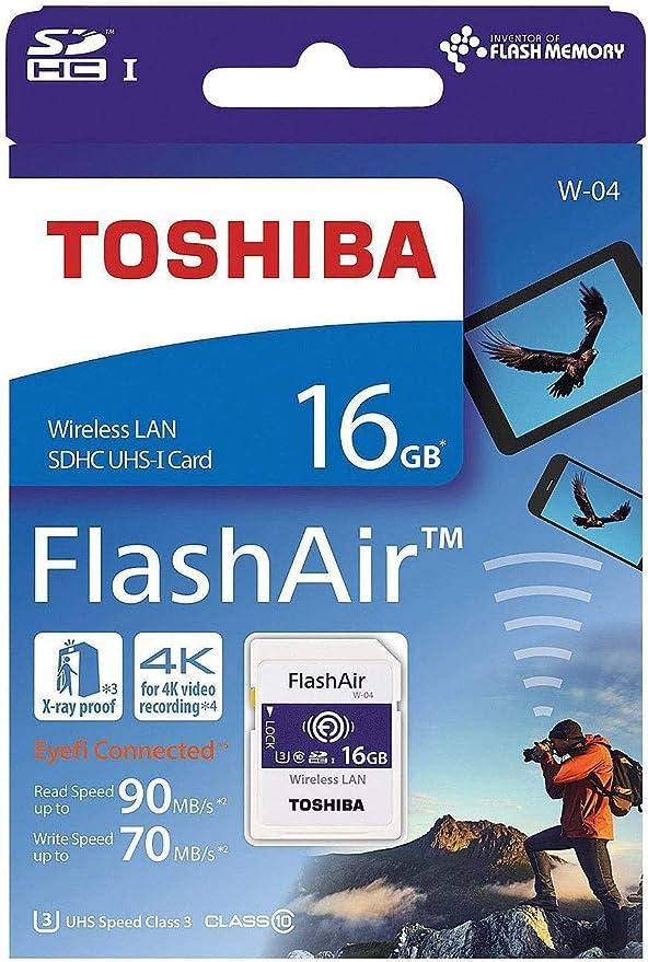 Toshiba FlashAir W-04 - Tarjeta de memoria (16 GB, adaptador ...