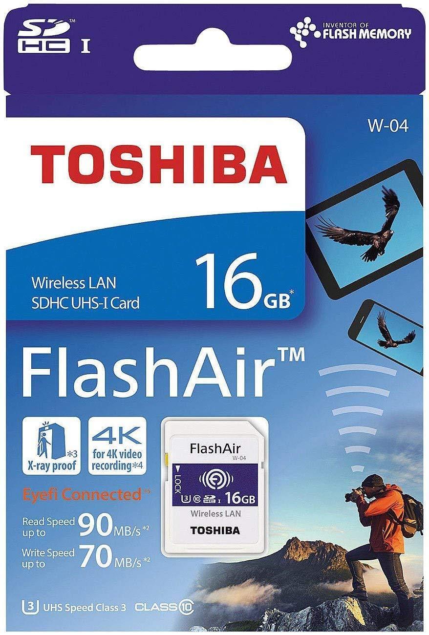 Toshiba FlashAir W-04 - Tarjeta de memoria (16 GB, adaptador incluido, 90 MB/s lectura, 70MB/s escritura, microSDXC) color blanco