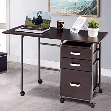 Tangkula Folding Computer Desk Wheeled Home Office Furniture With 3 Drawers  Laptop Desk Writing Table Portable