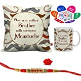 indibni Bro Awesome in Moustache Quote Printed White Coffee Mug and Cushion Cover 12x12 with Filler - Gift for Brother on his Birthday and Anniversary