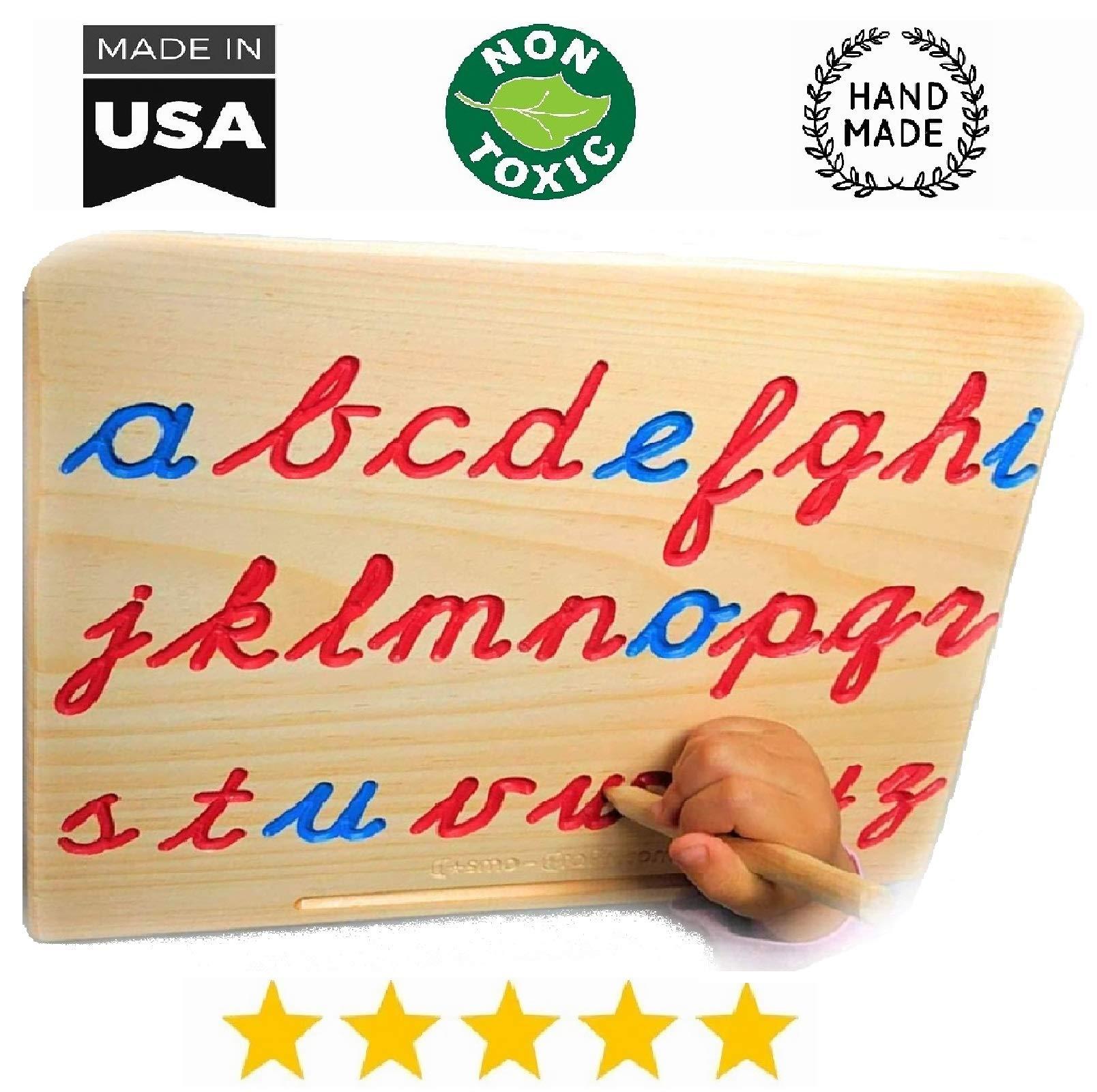 Montessori Cursive Alphabet   Lowercase   Cursive ABC Letters Tracing Board with Wooden Pen by Cosmo-Crafts ... (A- Lowercase NO Color) by cosmo-crafts.com
