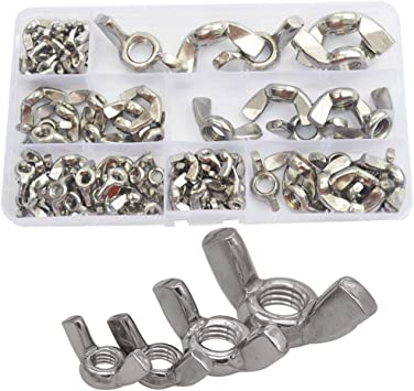 50 Pcs Nut Stainless Steel Wing Nut Hand Tighten M3-M6 M8 Fastener Kit Stainless Steel Nut