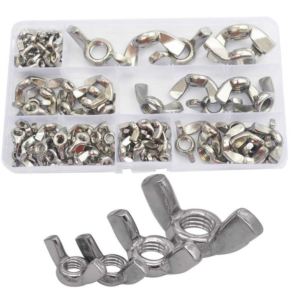 90pcs Wing Butterfly Nut Metric Threaded Thumb Wingnuts M3 M4 M5 M6 M8 M10 M12 Fasteners Assortment Kit with Case 304Stainless Steel