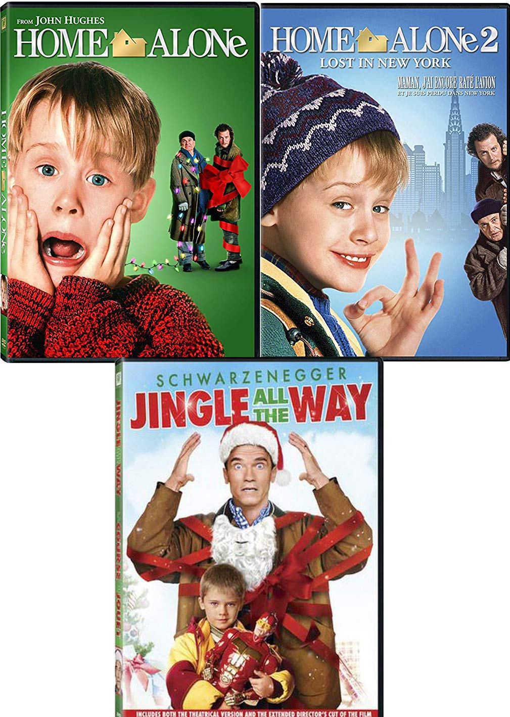 New York Family Christmas 3-Movie Bundle - Home Alone 1 + Home Alone 2: Lost in New York & Jingle All The Way 3-DVD Holiday Cheer Collection