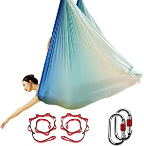 KIKIGOAL Aerial Yoga Hammock Premium Aerial Silk Yoga Swing Antigravity Yoga Inversion Exercises, Improved Flexibility & Core Strength - Extension Straps, O-Rings Pose Guide Included