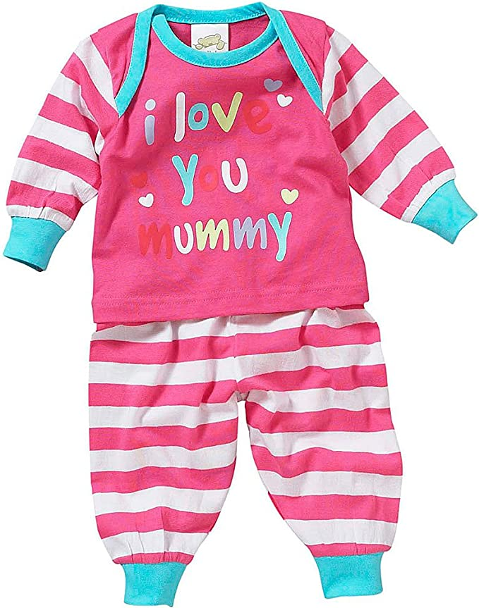 Lullaby Baby Boys I Love My Mummy Daddy Striped Star Print Pyjamas