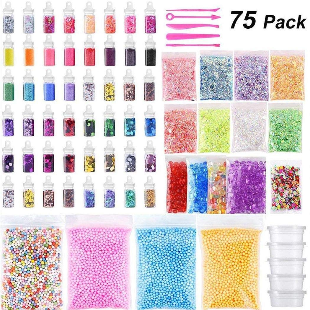 Lantusi 75Pack DIY Slime Kit Foam Ball Glitter Granules Slime Making Material Set Hand /& Footprint Makers