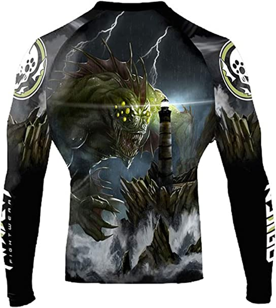Raven Fightwear Men/'s The Great Old Ones Dagon Rash Guard MMA BJJ Black