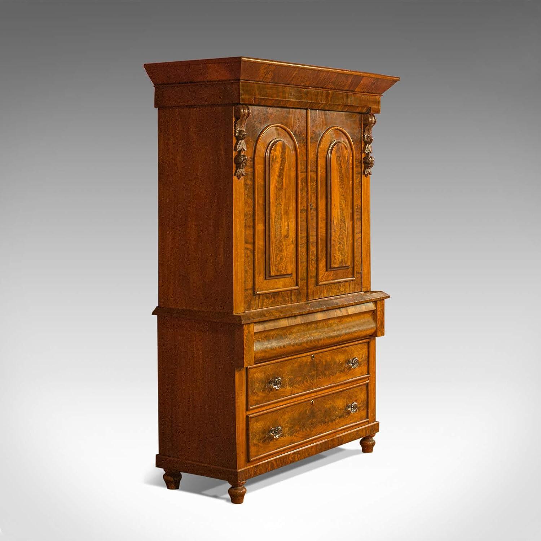 Prensa de lino antiguo, victoriano, armario de ama de casa, caoba ...