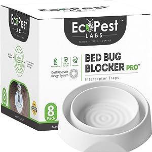 EcoPest Labs Bed Bug Interceptors - 8 Pack | Bed Bug Blocker (Pro) Interceptor Traps (White)