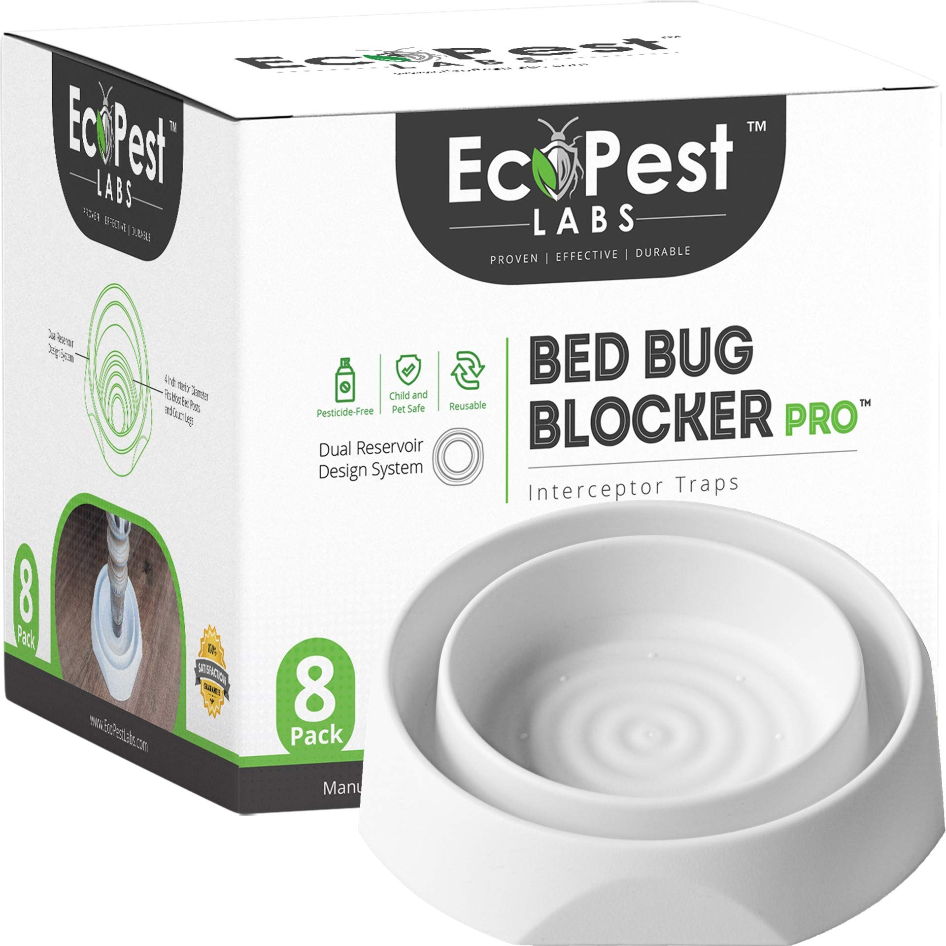 Bed Bug Interceptors - 8 Pack | Bed Bug Blocker (Pro) Interceptor Traps (White) | Eco Friendly Insect Trap for Bed Legs | No Chemicals or Pesticides | Monitor, Detector, and Trap for Bed Bugs by EcoPest Labs