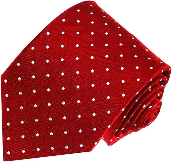 LORENZO CANA – corbata de seda 100% – Puntos blancos y rojos ...