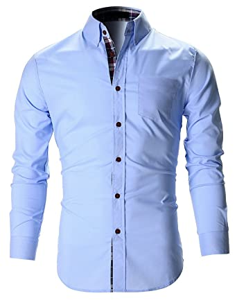 35219339 FINIVO FASHION Men's Cotton Casual Shirt (Sky Blue, 38): Amazon.in ...