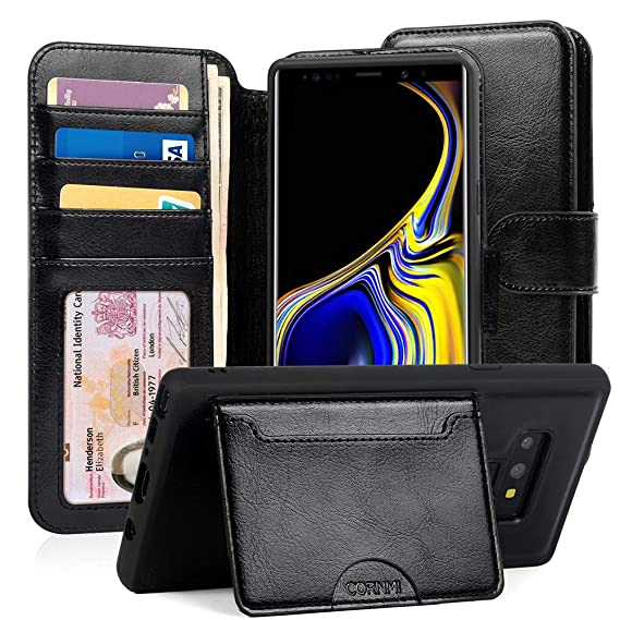 3c452ae81f02 Cornmi Samsung Galaxy Note 9 Wallet Case,Detachable Galaxy Note 9 Slim Flip  Protective Cover Stand Case with 5 Card Slots,1 Cash Slot,1 Coins ...