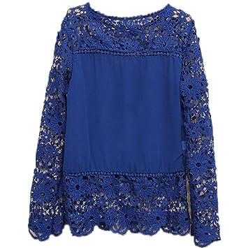TOOGOO(R) Camisas de manga larga de ganchillo hueco flor chiffon encaje azul oscuro
