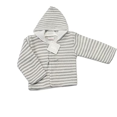 ef250bb92d3e Nursery Time Baby Knitted Contrast Grey White Striped Pram Coat ...