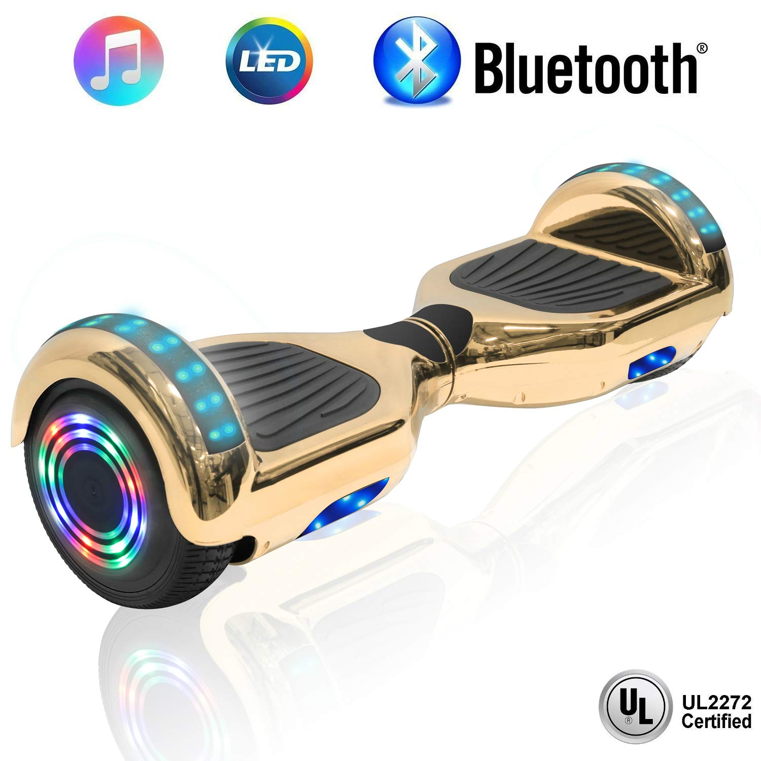 NHT 6.5'' Hoverboard Electric Self Balancing Scooter Sidelights - UL2272 Certified Black, Blue, Pink, Red, White (Chrome Gold)