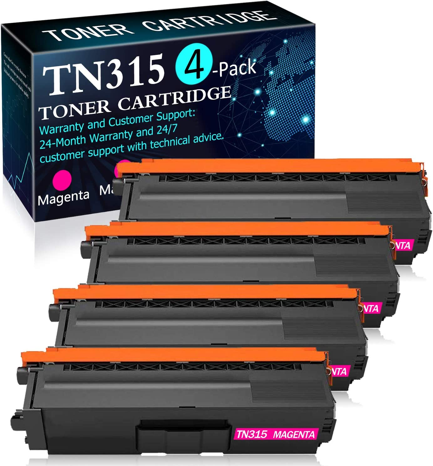 4 Pack Magenta TN315M Toner Cartridge Replacement for Brother HL-4150CDN 4140CW 4570CDW 4570CDWT MFC-9640CDN 9650CDW 9970CDW Printers Toner Cartridge