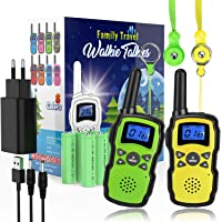 WisHouse Walkie Talkie Niños Recargable,Portátil Walkie-Talkie Largo Alcance con Cordones Bateria 2X3000mAh Cargador USB…
