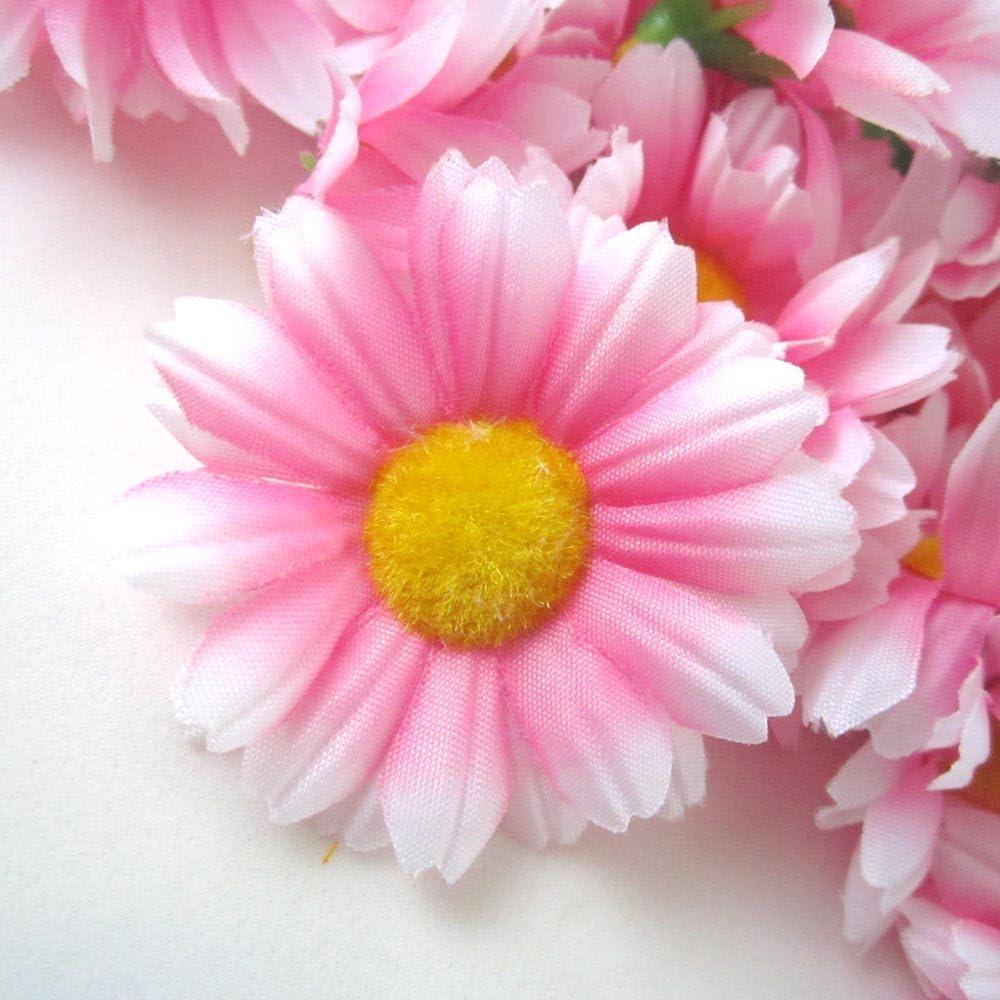 Amazon.com: (12) Silk Pink White Edge Gerbera Daisy Flower Heads , Gerber  Daisies - 1.75