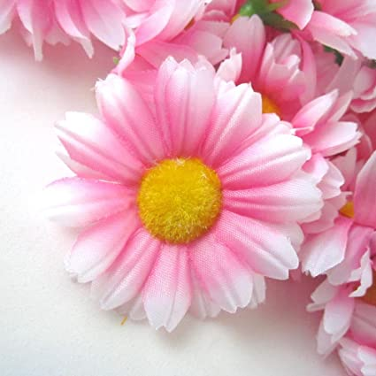 Amazon 12 silk pink white edge gerbera daisy flower heads 12 silk pink white edge gerbera daisy flower heads gerber daisies 175quot mightylinksfo