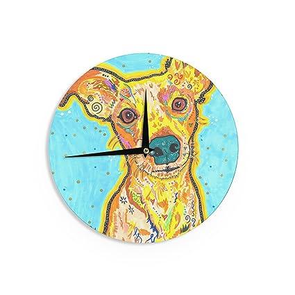 12-Inch Kess InHouse Petit Griffin Tipi Brown Kids Wall Clock