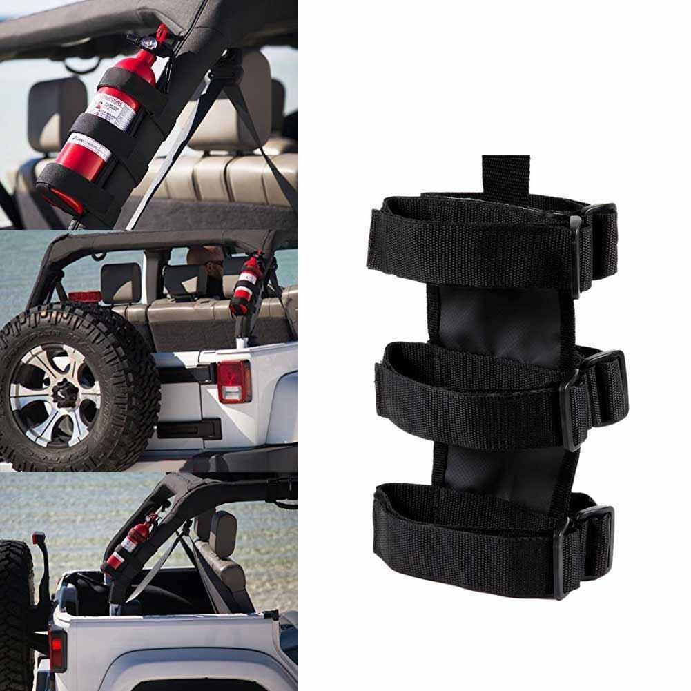 Kinbelle Fire Extinguisher Holder Bag For Jeep Wrangler Car Truck UTV Vehicle Extinguisher Strap Mount Bracket Strap Max. 3lb